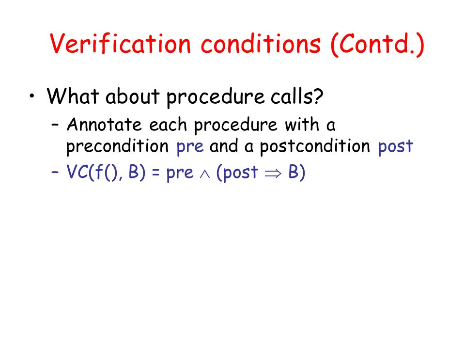 Verification conditions (Contd.) What about procedure calls.