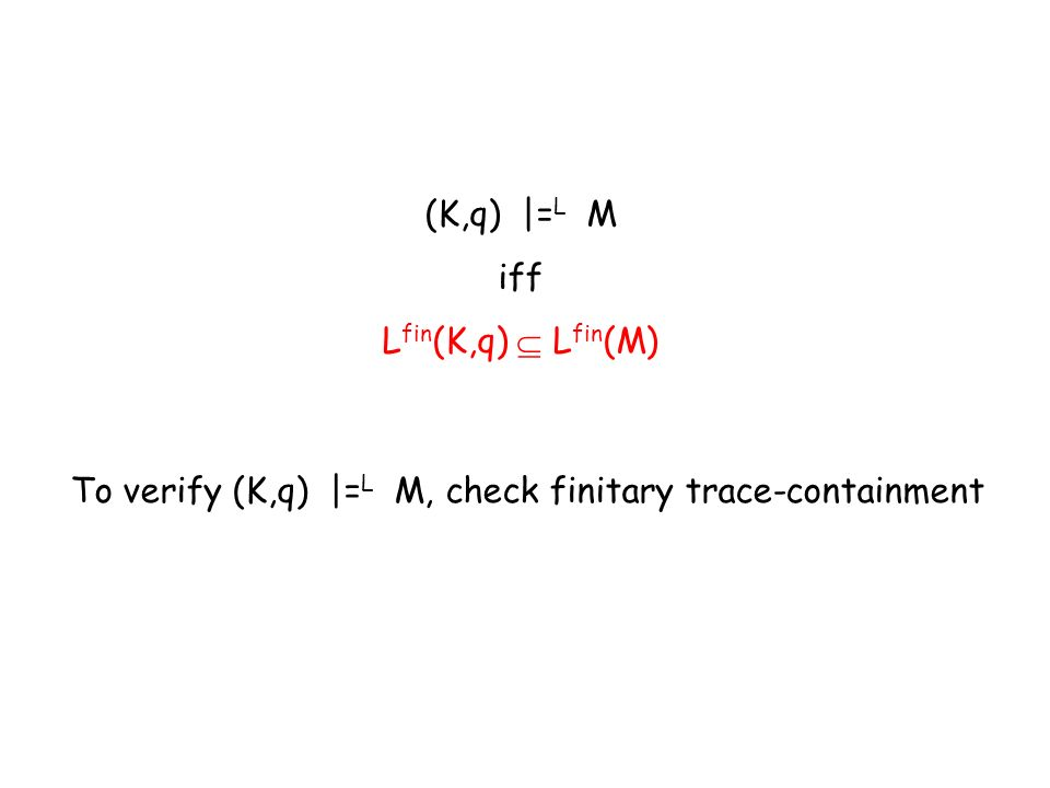 (K,q) |= L M iff L fin (K,q) L fin (M) To verify (K,q) |= L M, check finitary trace-containment