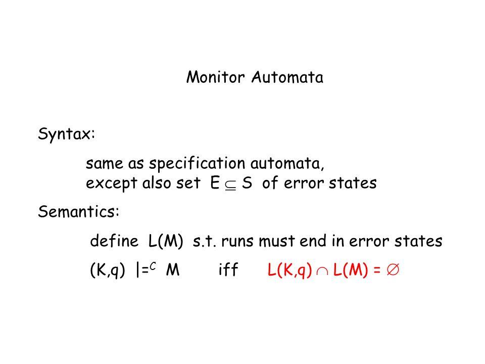 Monitor Automata Syntax: same as specification automata, except also set E S of error states Semantics: define L(M) s.t.