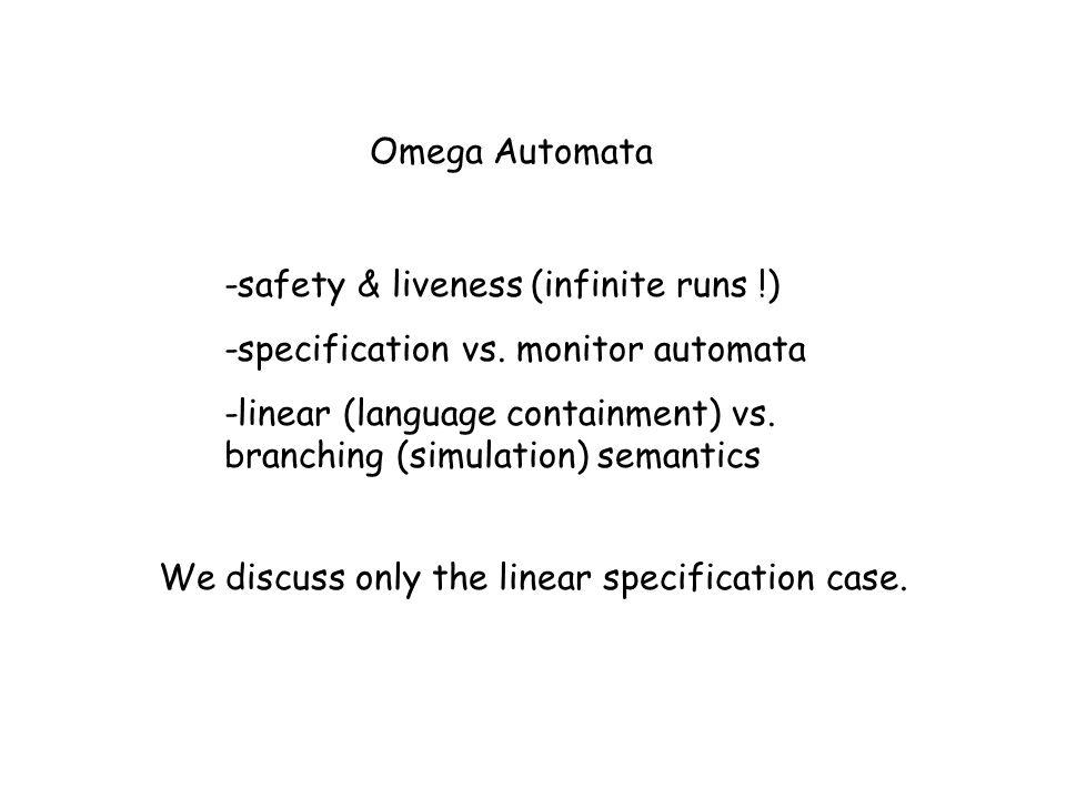 -safety & liveness (infinite runs !) -specification vs. monitor automata -linear (language containment) vs. branching (simulation) semantics We discus