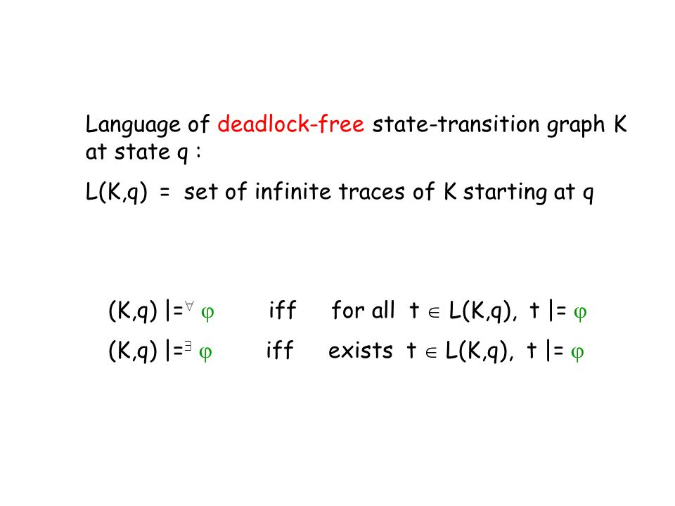 (K,q) |= iff for all t L(K,q), t |= (K,q) |= iff exists t L(K,q), t |= Language of deadlock-free state-transition graph K at state q : L(K,q) = set of