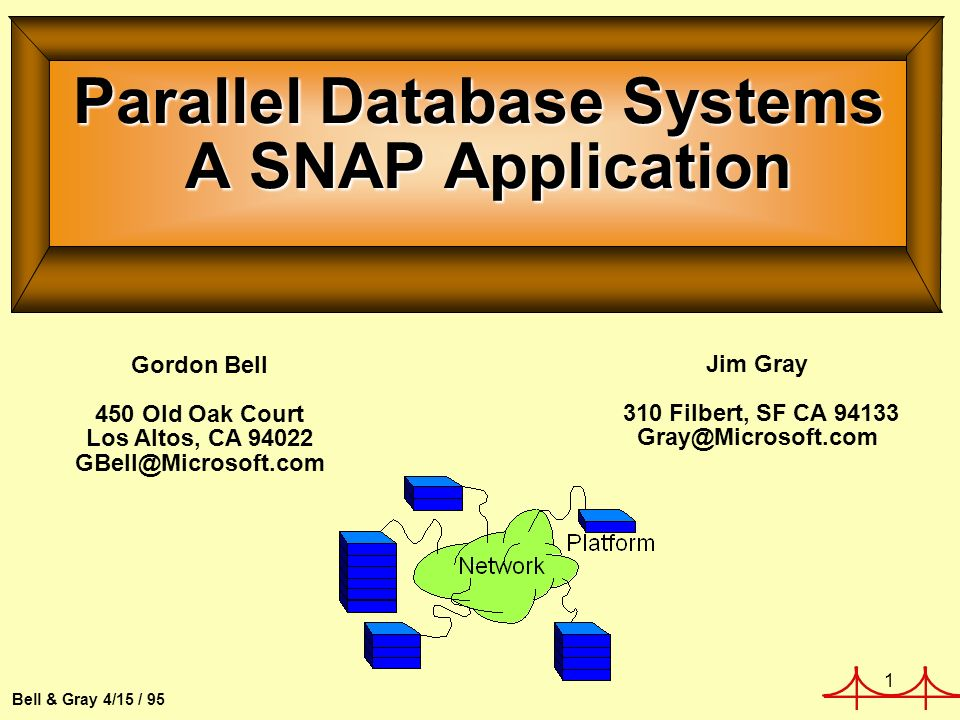 1 Bell & Gray 4/15 / 95 Parallel Database Systems A SNAP Application Gordon Bell 450 Old Oak Court Los Altos, CA 94022 GBell@Microsoft.com Jim Gray 310 Filbert, SF CA 94133 Gray@Microsoft.com