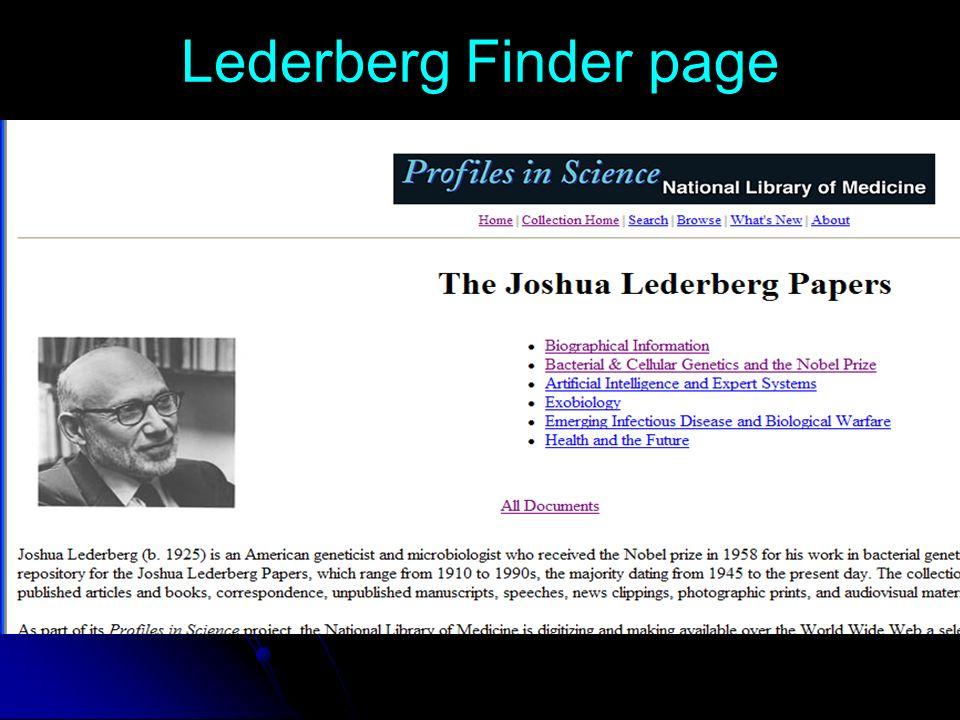 Lederberg Finder page
