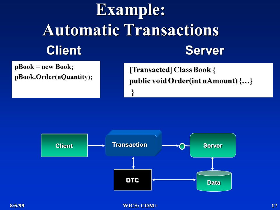 8/5/99WICS: COM+17 Example: Automatic Transactions Data Server Transaction Client DTC pBook = new Book; pBook.Order(nQuantity); [Transacted] Class Book { public void Order(int nAmount) {…} } ClientServer
