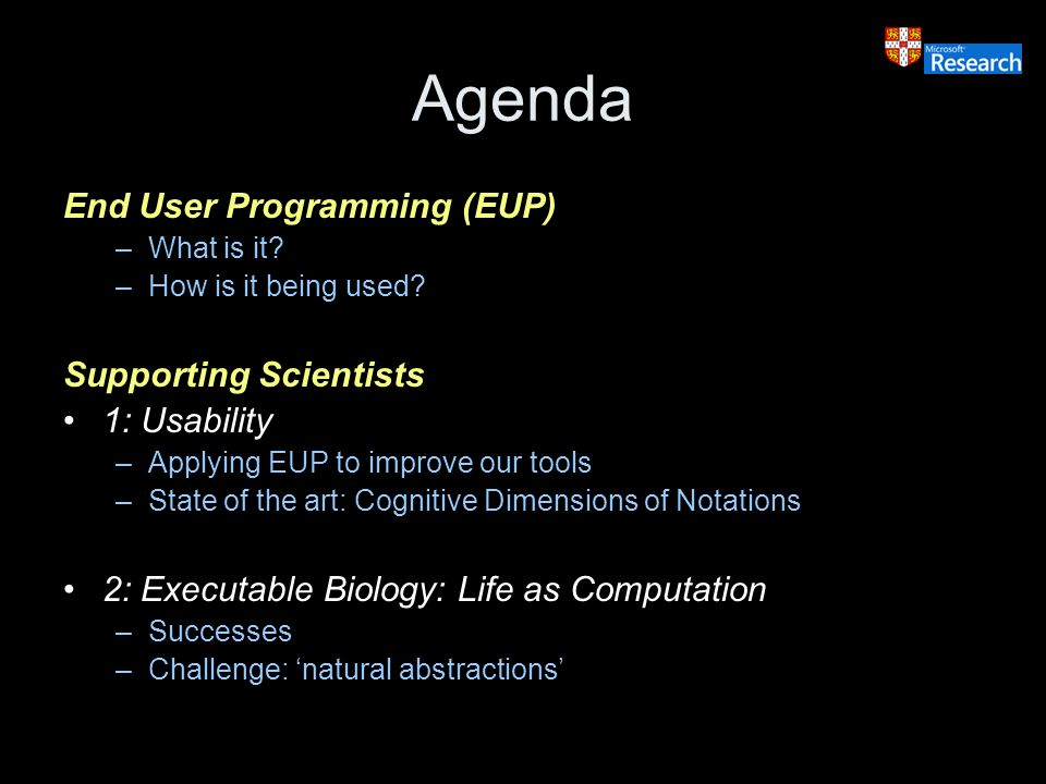 Agenda End User Programming (EUP) –What is it. –How is it being used.