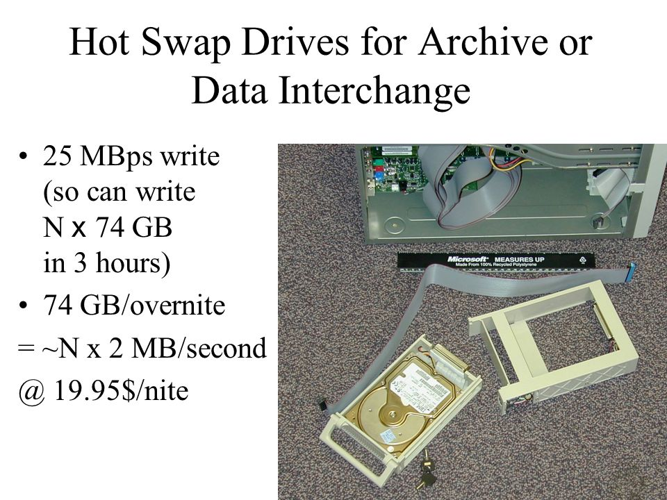 Hot Swap Drives for Archive or Data Interchange 25 MBps write (so can write N x 74 GB in 3 hours) 74 GB/overnite = ~N x 2 MB/second @ 19.95$/nite