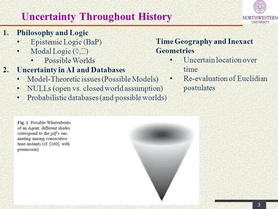 Uncertainty Throughout History 3 1.Philosophy and Logic Epistemic Logic (BaP) Modal Logic (, ) Possible Worlds 2.Uncertainty in AI and Databases Model-Theoretic issues (Possible Models) NULLs (open vs.