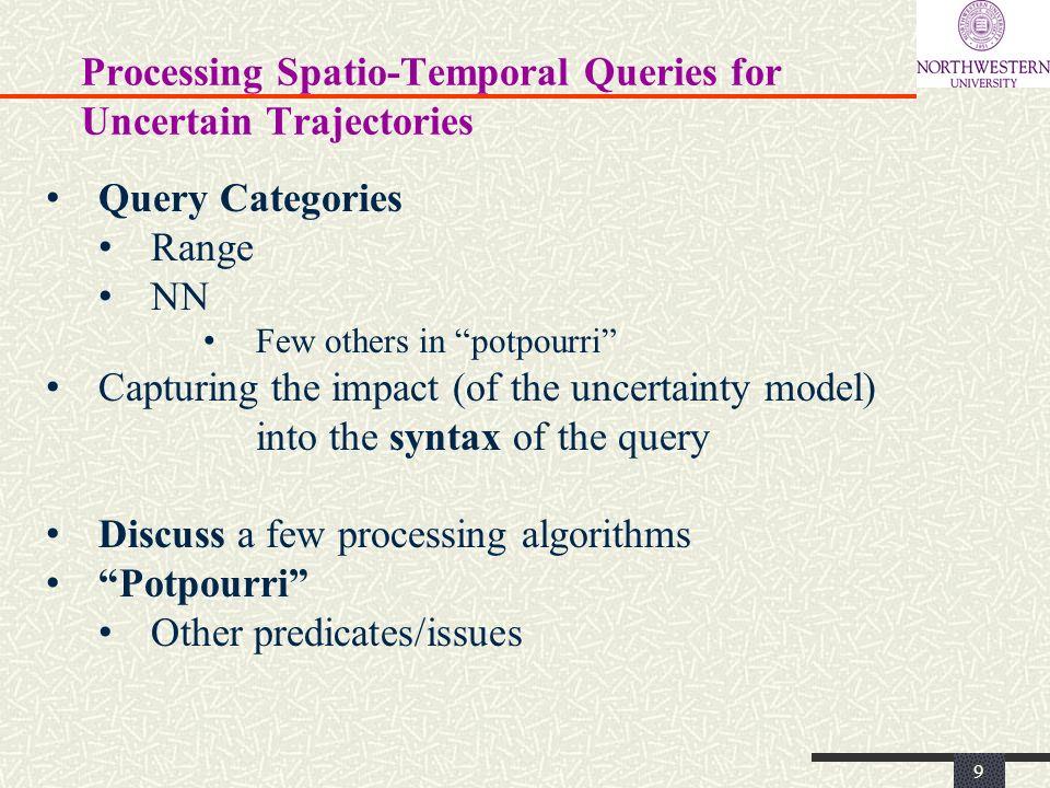 Processing Spatio-Temporal Queries for Uncertain Trajectories 10