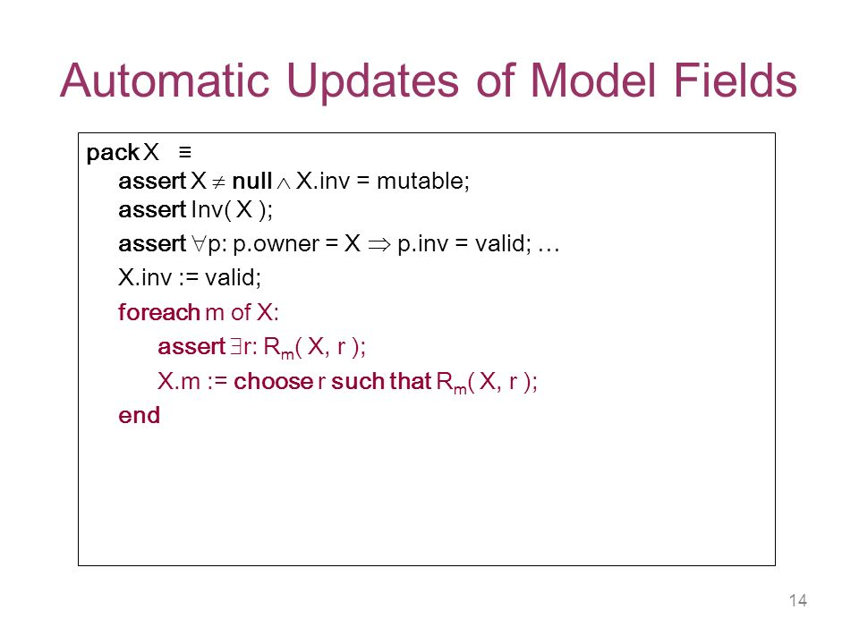 14 Automatic Updates of Model Fields pack X assert X null X.inv = mutable; assert Inv( X ); assert p: p.owner = X p.inv = valid; … X.inv := valid; foreach m of X: assert r: R m ( X, r ); X.m := choose r such that R m ( X, r ); end