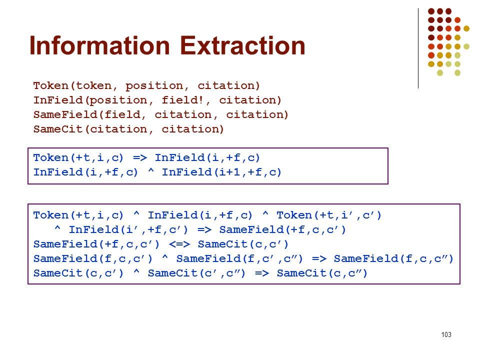 103 Token(token, position, citation) InField(position, field!, citation) SameField(field, citation, citation) SameCit(citation, citation) Token(+t,i,c