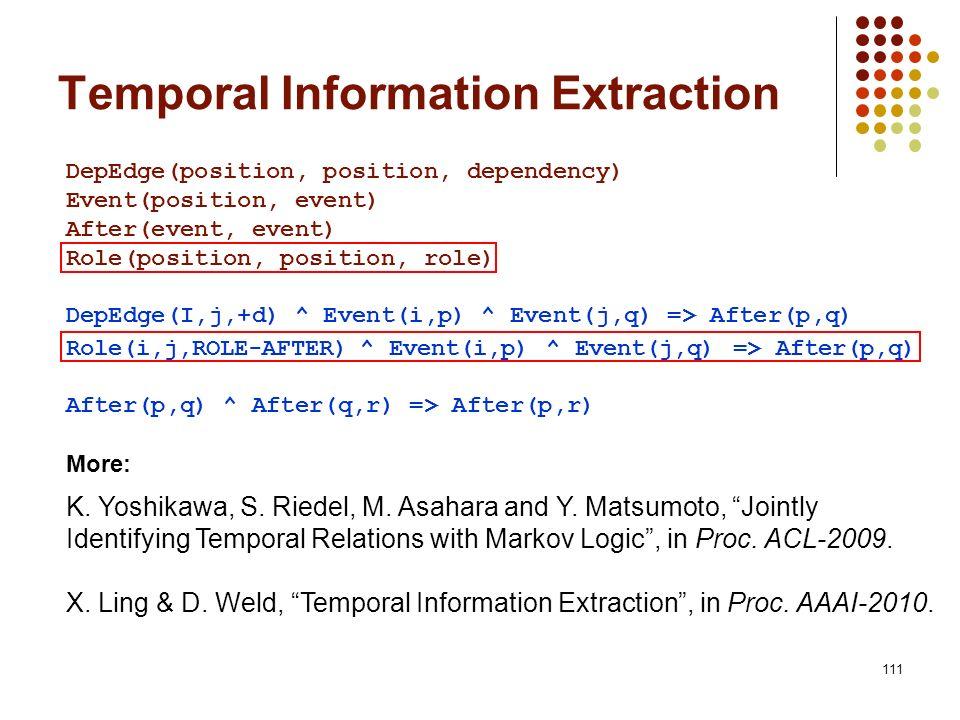 111 DepEdge(position, position, dependency) Event(position, event) After(event, event) Role(position, position, role) DepEdge(I,j,+d) ^ Event(i,p) ^ E