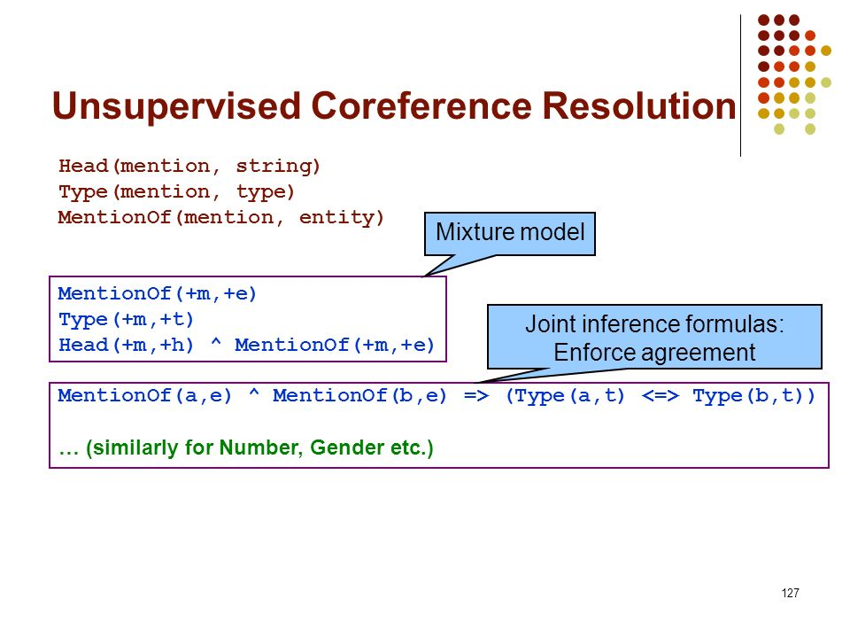 127 Unsupervised Coreference Resolution Head(mention, string) Type(mention, type) MentionOf(mention, entity) MentionOf(+m,+e) Type(+m,+t) Head(+m,+h)