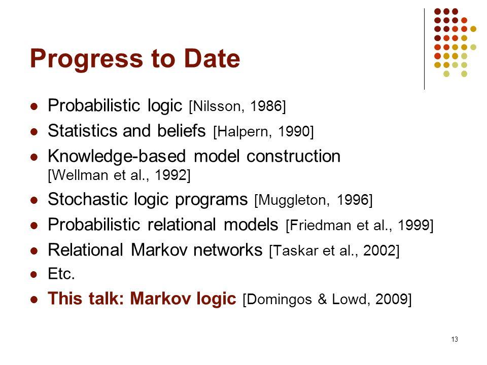 13 Progress to Date Probabilistic logic [Nilsson, 1986] Statistics and beliefs [Halpern, 1990] Knowledge-based model construction [Wellman et al., 199