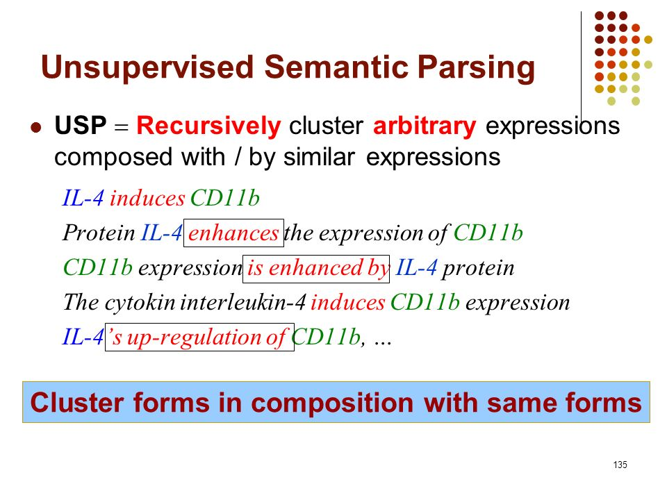 135 Cluster forms in composition with same forms Unsupervised Semantic Parsing USP Recursively cluster arbitrary expressions composed with / by simila