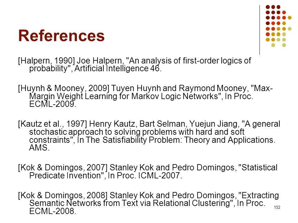 152 References [Halpern, 1990] Joe Halpern,