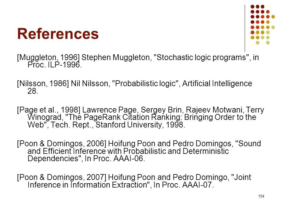 154 References [Muggleton, 1996] Stephen Muggleton,