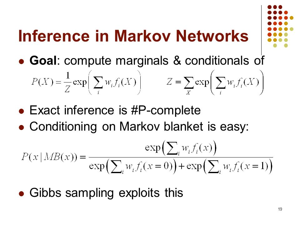 19 Inference in Markov Networks Goal: compute marginals & conditionals of Exact inference is #P-complete Conditioning on Markov blanket is easy: Gibbs