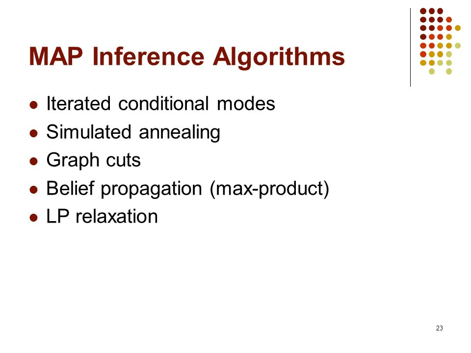 23 MAP Inference Algorithms Iterated conditional modes Simulated annealing Graph cuts Belief propagation (max-product) LP relaxation