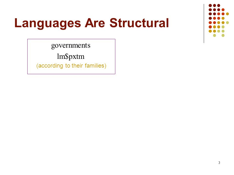 3 Languages Are Structural governments lm$pxtm (according to their families)