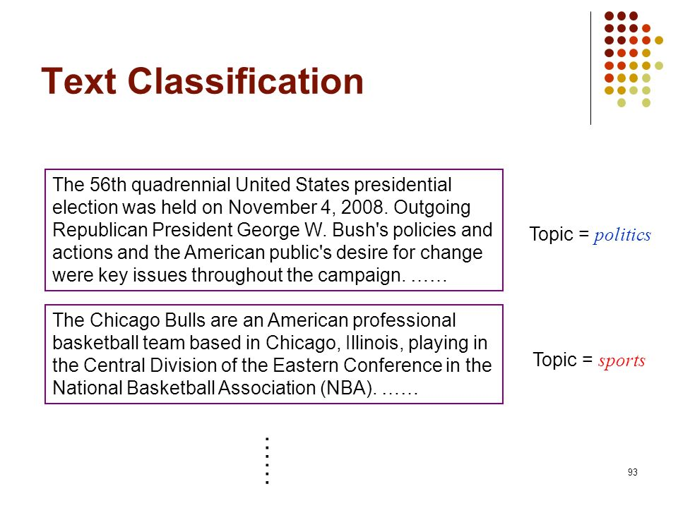 93 Text Classification The 56th quadrennial United States presidential election was held on November 4, 2008. Outgoing Republican President George W.