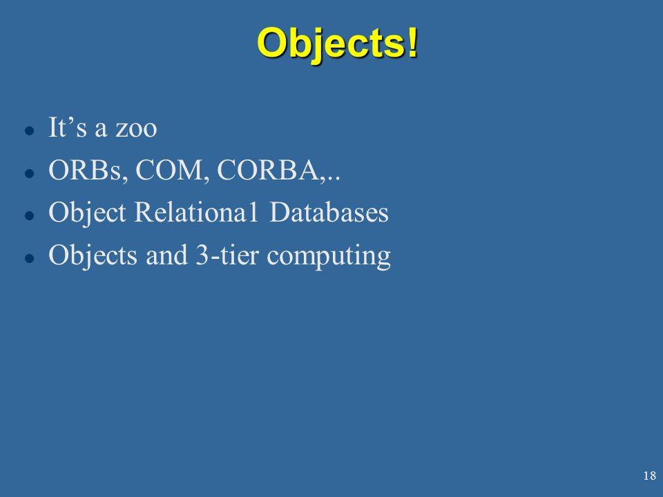 18Objects.l Its a zoo l ORBs, COM, CORBA,..