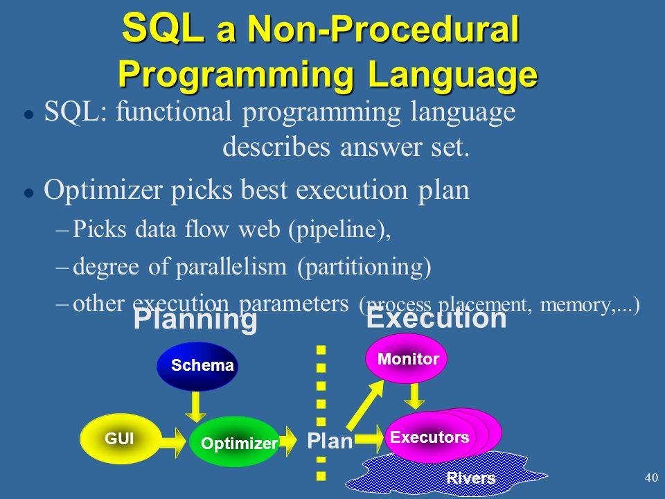 40 SQL a Non-Procedural Programming Language l SQL: functional programming language describes answer set.