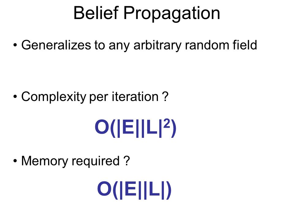 Belief Propagation Generalizes to any arbitrary random field Complexity per iteration .