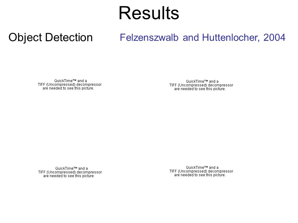 Results Object Detection Felzenszwalb and Huttenlocher, 2004
