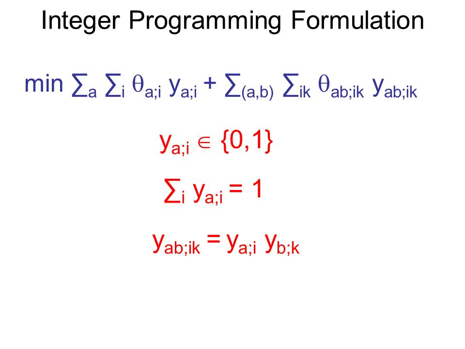 Integer Programming Formulation min a i a;i y a;i + (a,b) ik ab;ik y ab;ik y a;i {0,1} i y a;i = 1 y ab;ik = y a;i y b;k