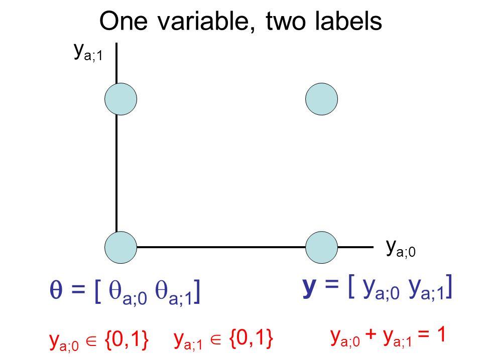 One variable, two labels y a;0 y a;1 y a;0 {0,1} y a;1 {0,1} y a;0 + y a;1 = 1 y = [ y a;0 y a;1 ] = [ a;0 a;1 ]