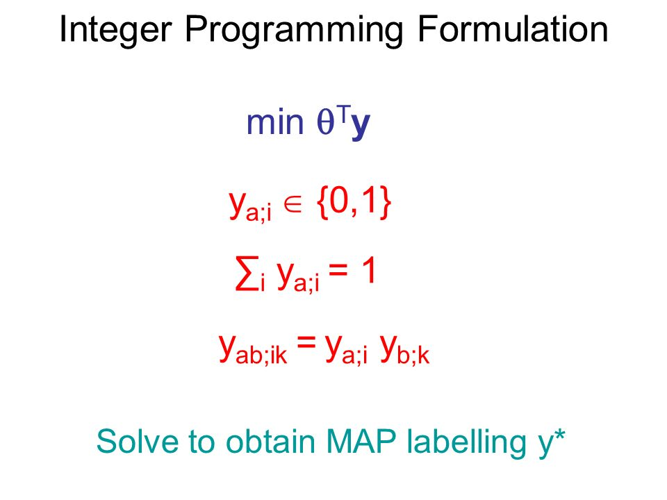 Integer Programming Formulation min T y y a;i {0,1} i y a;i = 1 y ab;ik = y a;i y b;k Solve to obtain MAP labelling y*