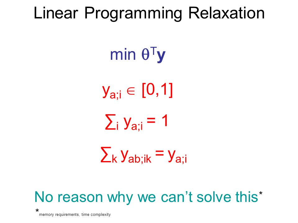 Linear Programming Relaxation min T y y a;i [0,1] i y a;i = 1 k y ab;ik = y a;i No reason why we cant solve this * * memory requirements, time complexity
