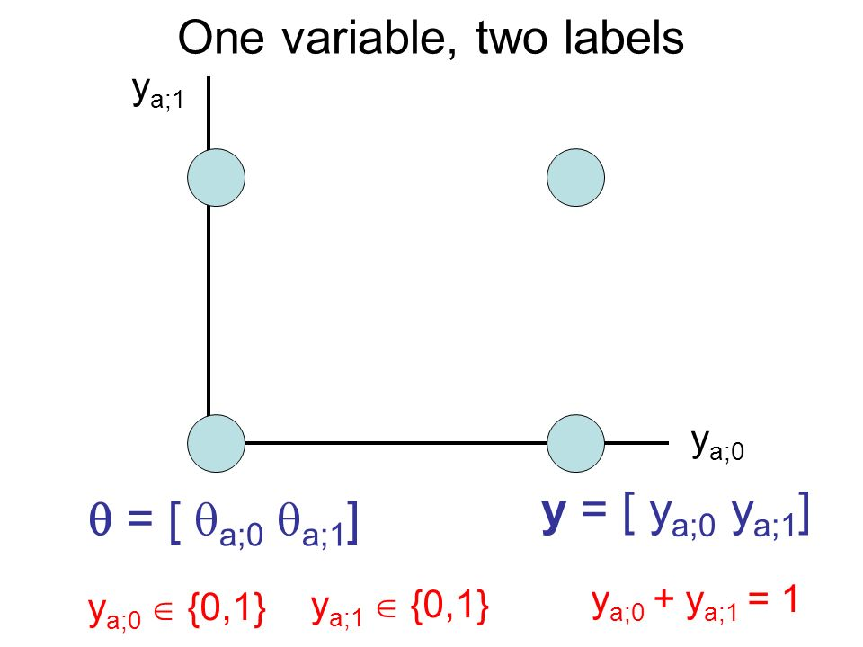 One variable, two labels y a;0 y a;1 y a;0 {0,1} y a;1 {0,1} y a;0 + y a;1 = 1 y = [ y a;0 y a;1 ] = [ a;0 a;1 ]
