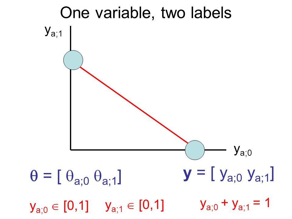 One variable, two labels y a;0 y a;1 y a;0 [0,1] y a;1 [0,1] y a;0 + y a;1 = 1 y = [ y a;0 y a;1 ] = [ a;0 a;1 ]