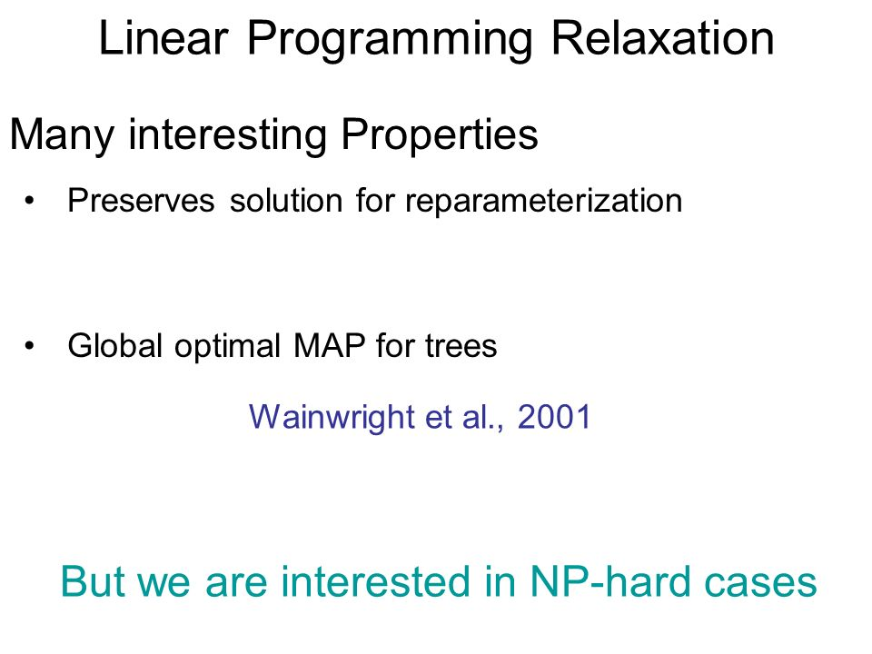 Linear Programming Relaxation Many interesting Properties Global optimal MAP for trees Wainwright et al., 2001 But we are interested in NP-hard cases Preserves solution for reparameterization