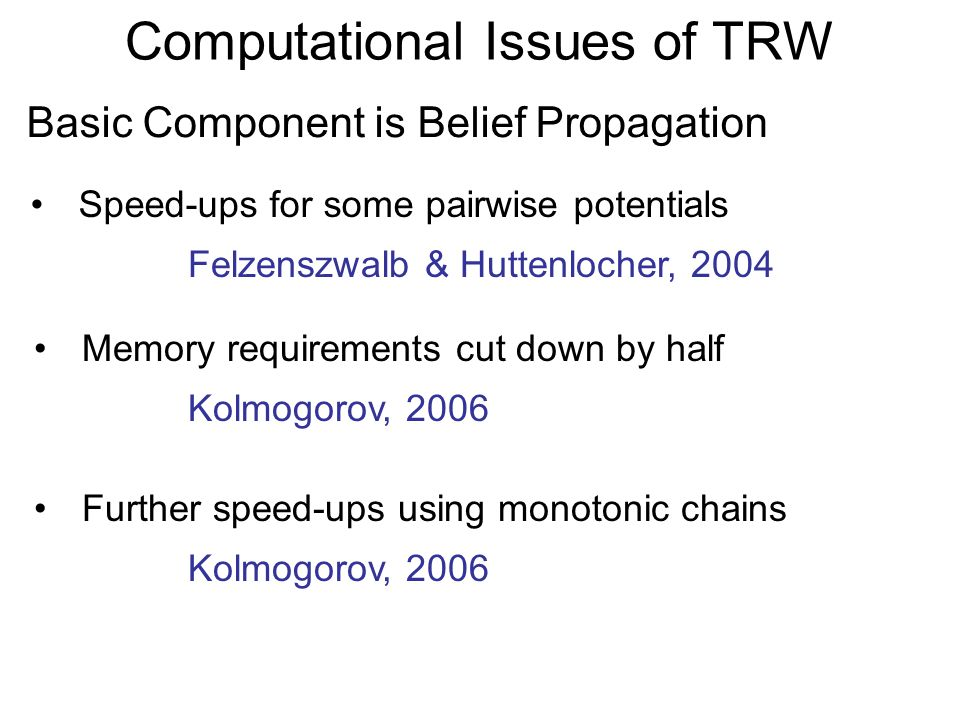 Computational Issues of TRW Speed-ups for some pairwise potentials Basic Component is Belief Propagation Felzenszwalb & Huttenlocher, 2004 Memory requirements cut down by half Kolmogorov, 2006 Further speed-ups using monotonic chains Kolmogorov, 2006
