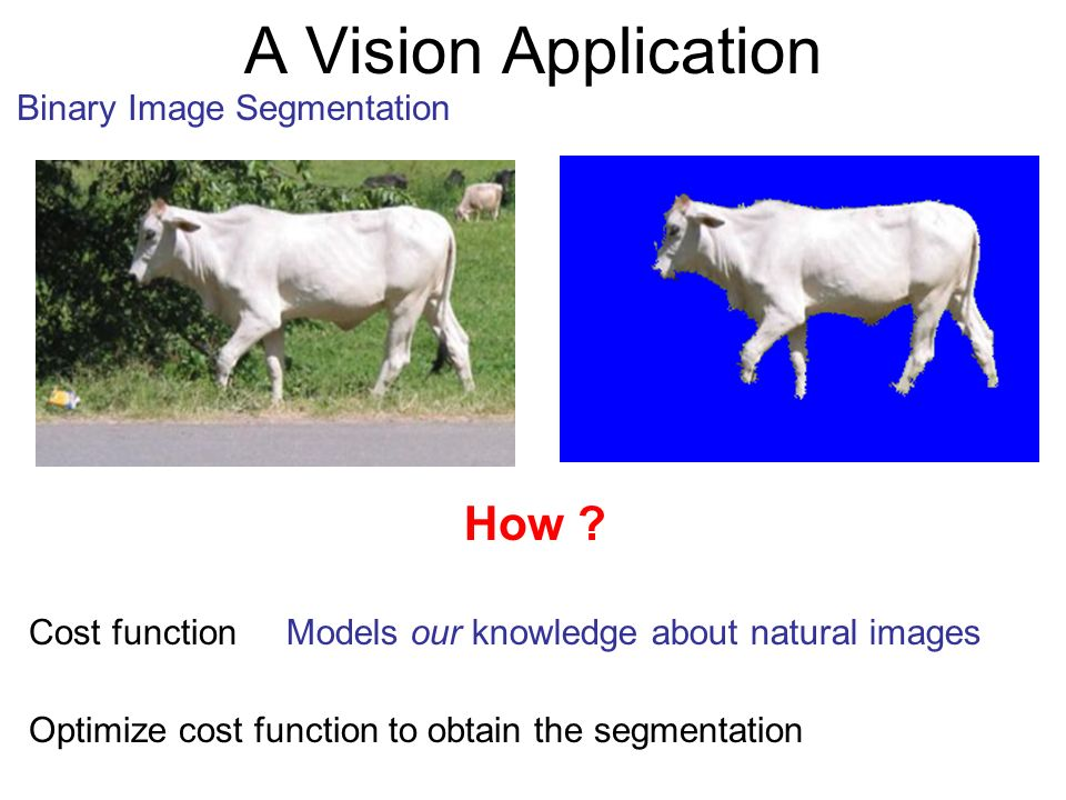 A Vision Application Binary Image Segmentation How ? Cost functionModels our knowledge about natural images Optimize cost function to obtain the segme