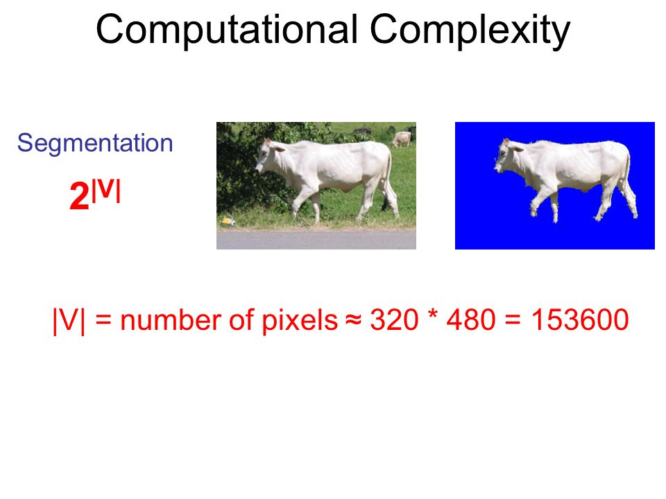 Computational Complexity Segmentation 2 |V| |V| = number of pixels 320 * 480 = 153600