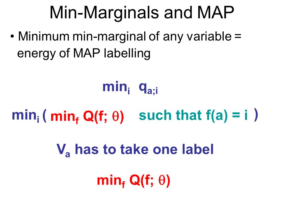Min-Marginals and MAP Minimum min-marginal of any variable = energy of MAP labelling min f Q(f; ) such that f(a) = i q a;i min i min i ( ) V a has to take one label min f Q(f; )
