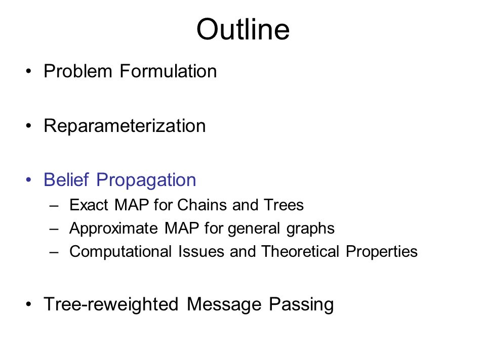 Outline Problem Formulation Reparameterization Belief Propagation – Exact MAP for Chains and Trees – Approximate MAP for general graphs – Computational Issues and Theoretical Properties Tree-reweighted Message Passing