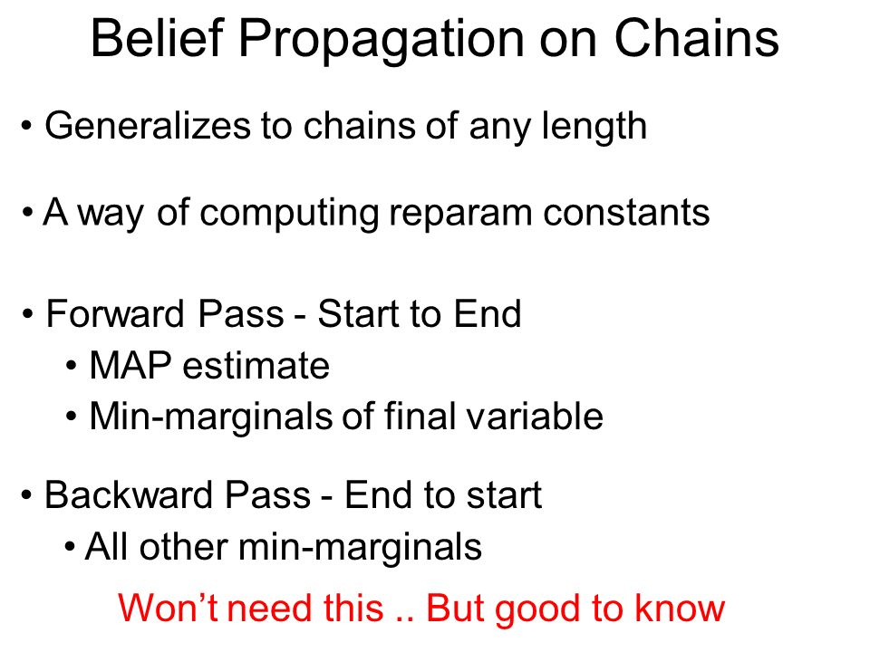 Belief Propagation on Chains A way of computing reparam constants Generalizes to chains of any length Forward Pass - Start to End MAP estimate Min-mar