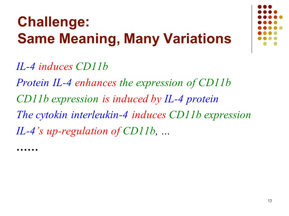 13 Challenge: Same Meaning, Many Variations IL-4 induces CD11b Protein IL-4 enhances the expression of CD11b CD11b expression is induced by IL-4 protein The cytokin interleukin-4 induces CD11b expression IL-4s up-regulation of CD11b, … ……