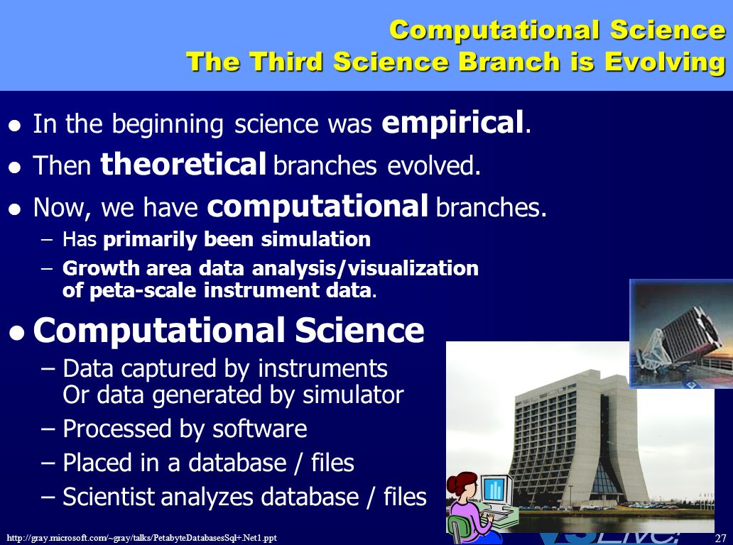 http://gray.microsoft.com/~gray/talks/PetabyteDatabasesSql+.Net1.ppt 27 Computational Science The Third Science Branch is Evolving In the beginning sc