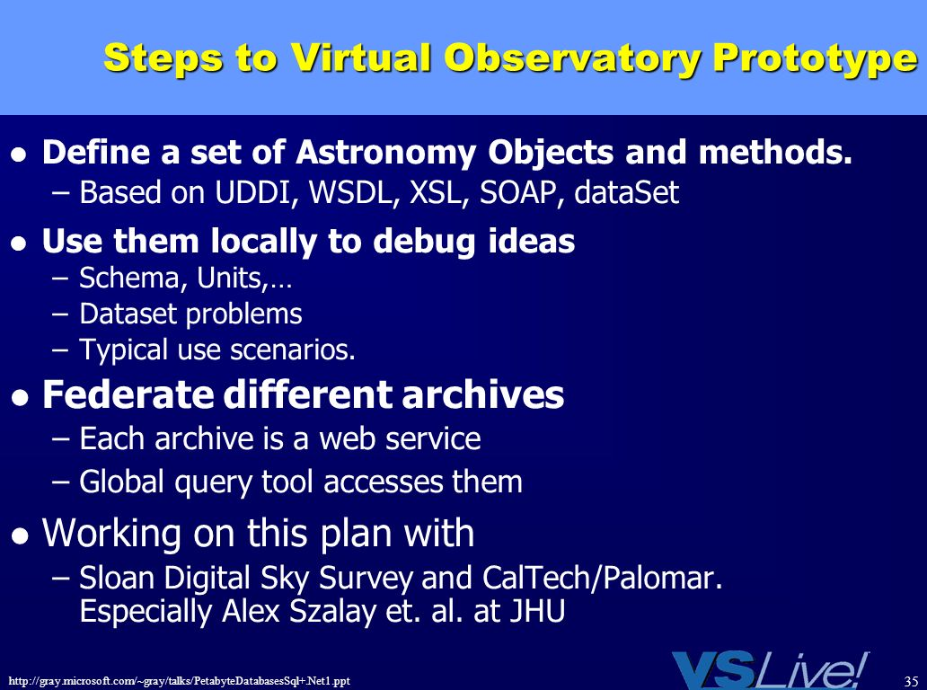 http://gray.microsoft.com/~gray/talks/PetabyteDatabasesSql+.Net1.ppt 35 Steps to Virtual Observatory Prototype Define a set of Astronomy Objects and m