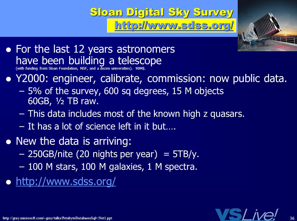 http://gray.microsoft.com/~gray/talks/PetabyteDatabasesSql+.Net1.ppt 36 Sloan Digital Sky Survey http://www.sdss.org/ http://www.sdss.org/ For the las