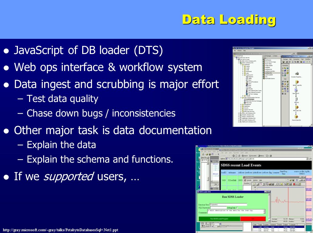 http://gray.microsoft.com/~gray/talks/PetabyteDatabasesSql+.Net1.ppt 40 Data Loading JavaScript of DB loader (DTS) Web ops interface & workflow system