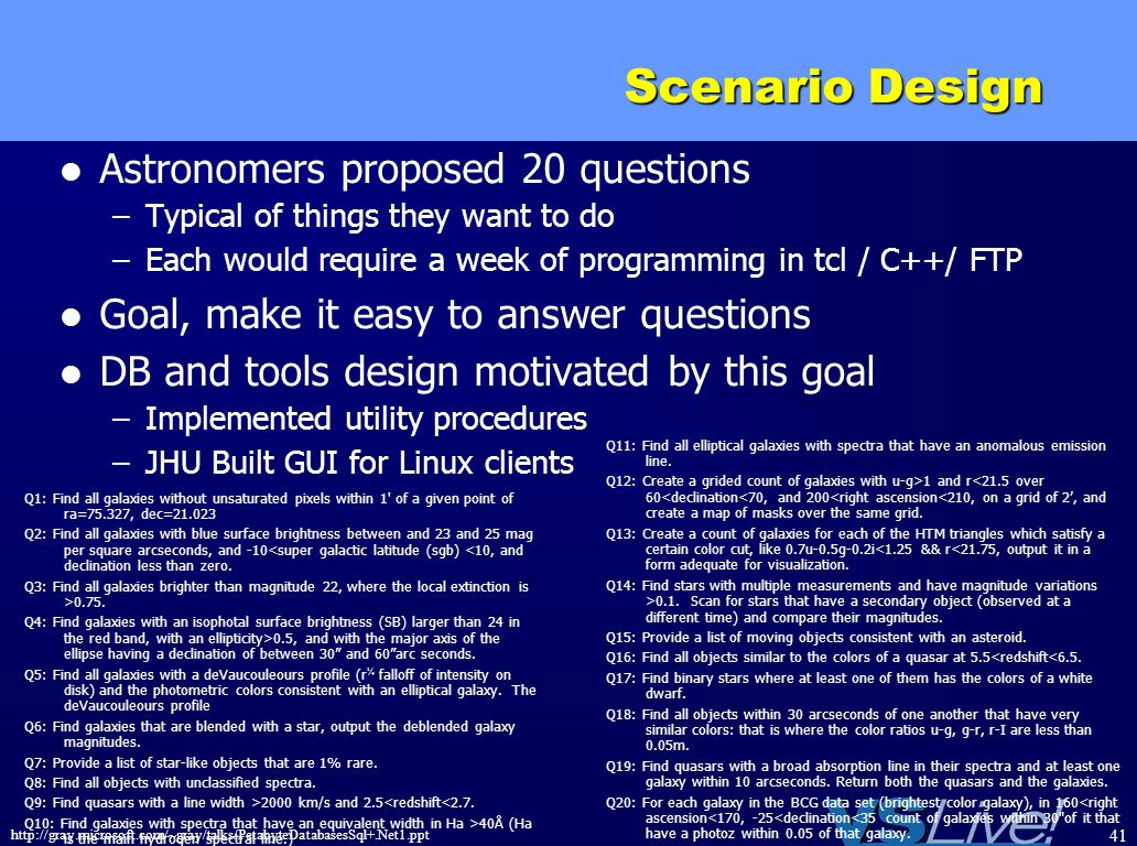 http://gray.microsoft.com/~gray/talks/PetabyteDatabasesSql+.Net1.ppt 41 Scenario Design Astronomers proposed 20 questions –Typical of things they want