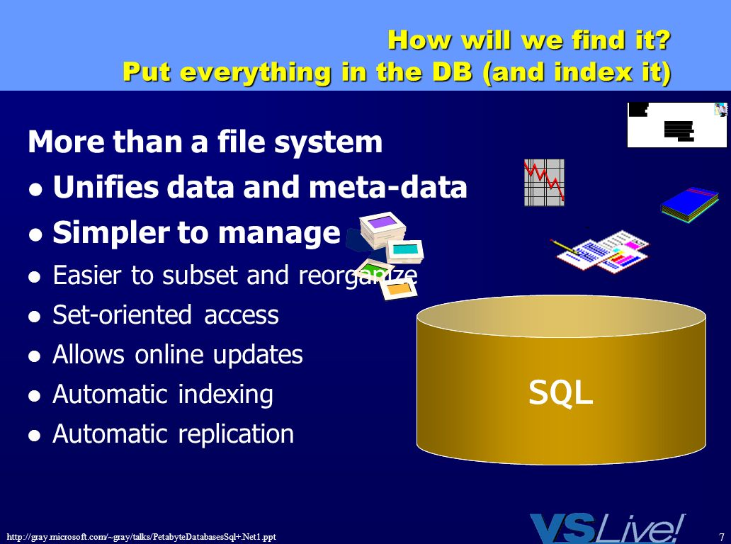 http://gray.microsoft.com/~gray/talks/PetabyteDatabasesSql+.Net1.ppt 7 How will we find it? Put everything in the DB (and index it) SQL More than a fi