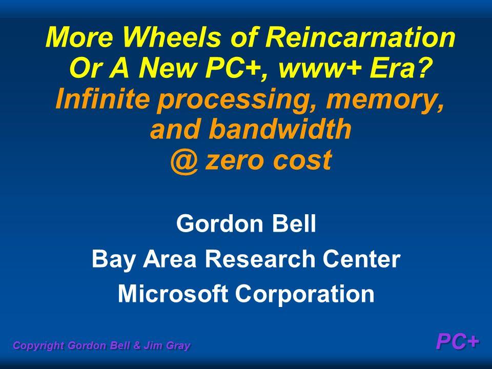 Copyright Gordon Bell & Jim Gray PC+ More Wheels of Reincarnation Or A New PC+, www+ Era? Infinite processing, memory, and bandwidth @ zero cost Gordo