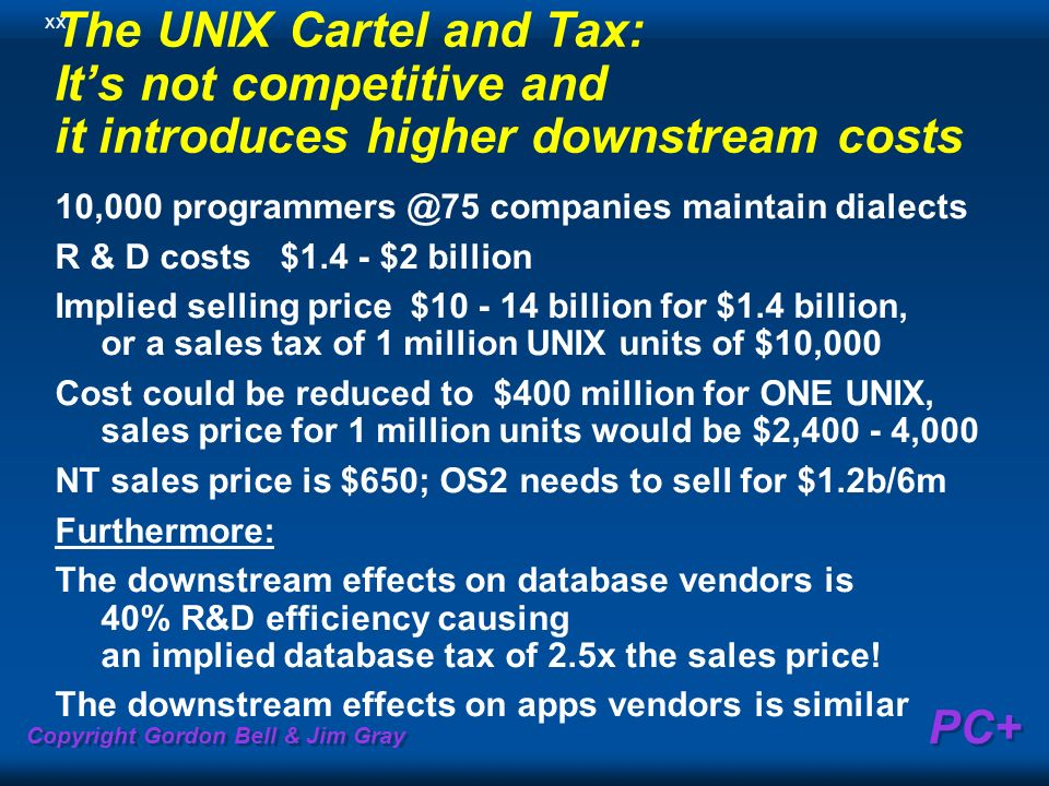 Copyright Gordon Bell & Jim Gray PC+ The UNIX Cartel and Tax: Its not competitive and it introduces higher downstream costs 10,000 programmers @75 co